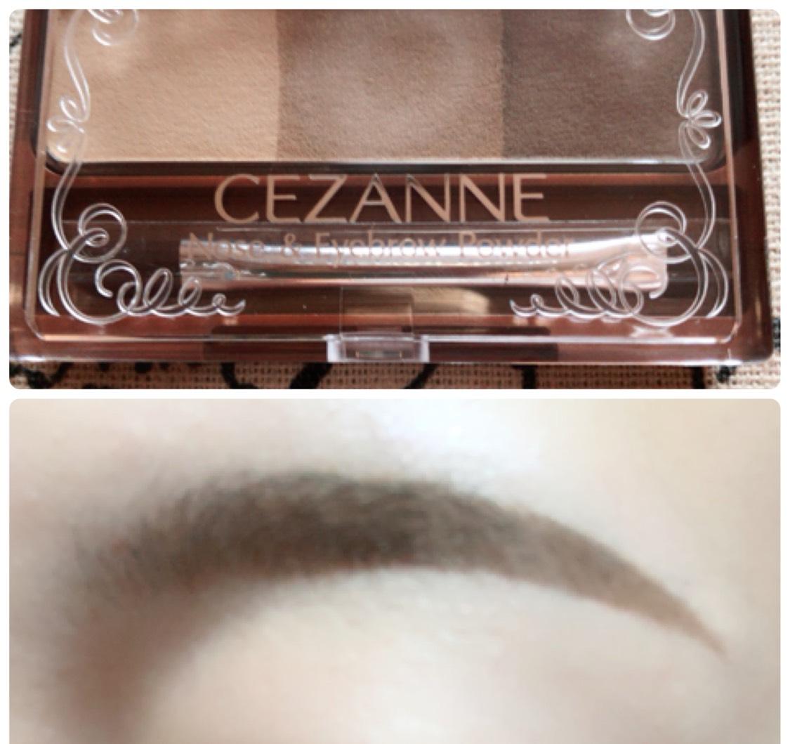 眉尻を濃く、眉頭を薄くなるようにセザンヌのアイブロウパウダーで描きます。