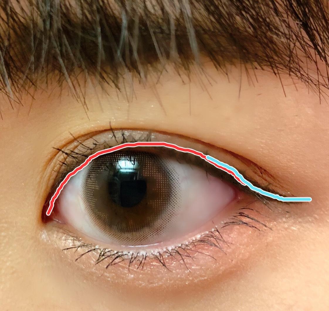 赤はインライン、青はアウトライン。 目のラインを延長するようにアイラインを引く。 カラコンがナチュラルなものなので、あまり長すぎない方が◎ 気持ち最後跳ね上げる。