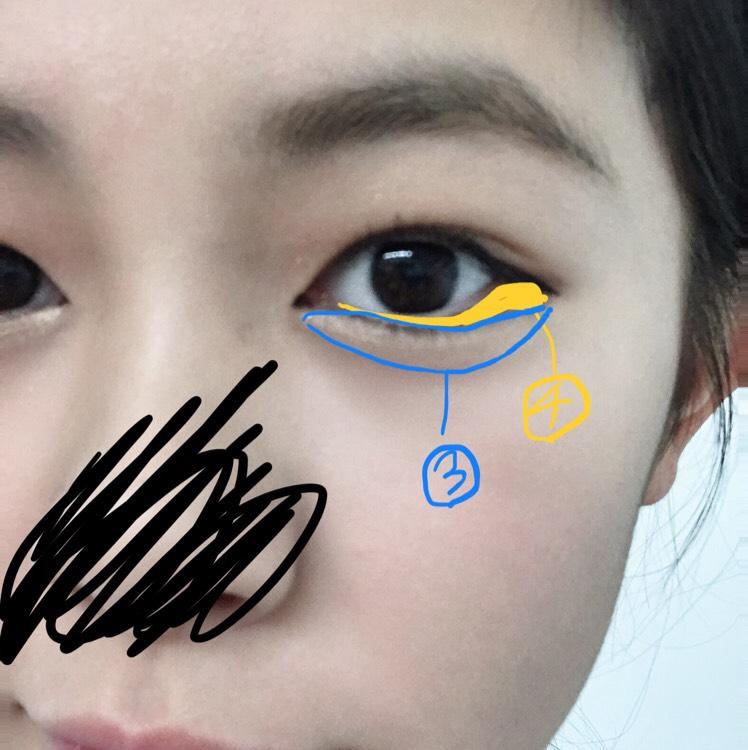 ③を涙袋に塗る。 ④は目頭部分には下まつ毛にそって目尻はタレ目になるように写真のようにぬる。 眉毛はキャンメイクのアイブロウを使いました。