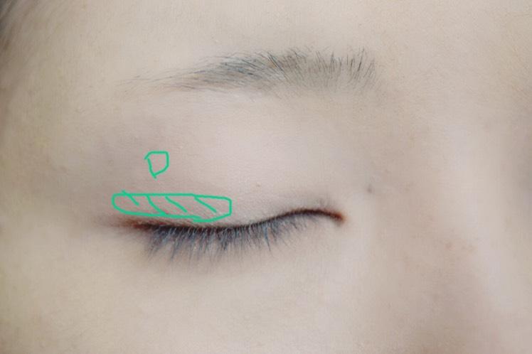 次に、Dを目尻側の二重幅だけにのせました。 すこしたれ目っぽくしてます。