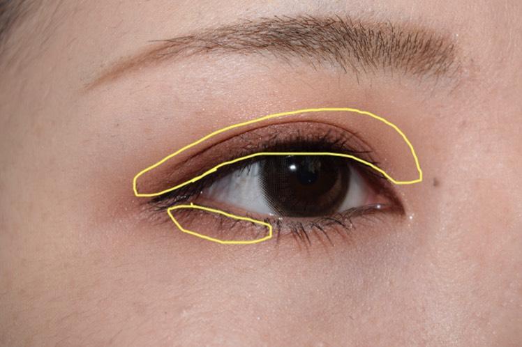 二重幅と下瞼目尻側にBの色を。