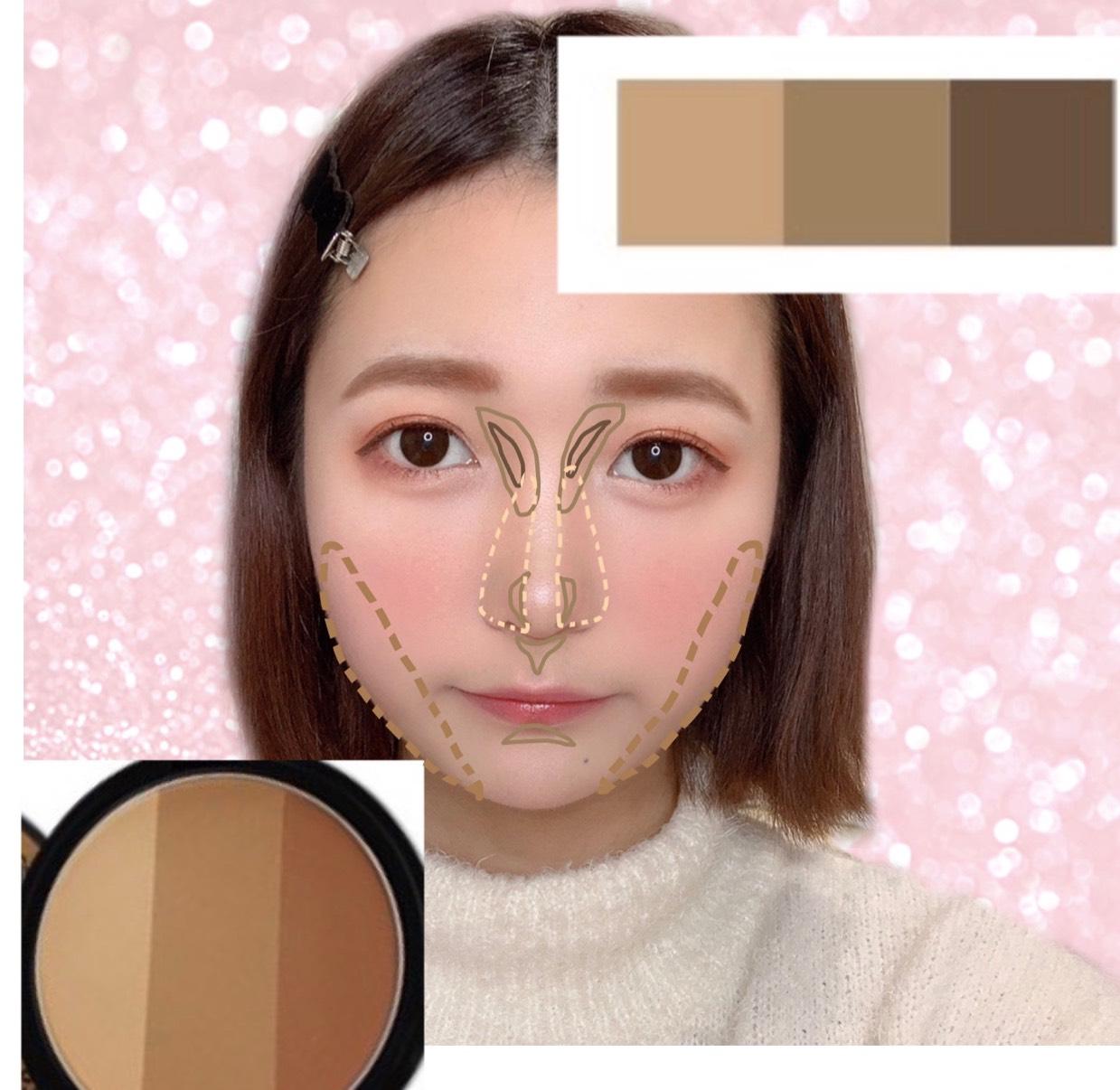 シェーディング / ノーズシャドウは画像のように。 ノーズシャドウの塗る色順は 真ん中☞左☞右の色で塗ります!  シェーディングは左2色を混ぜて塗ります◎