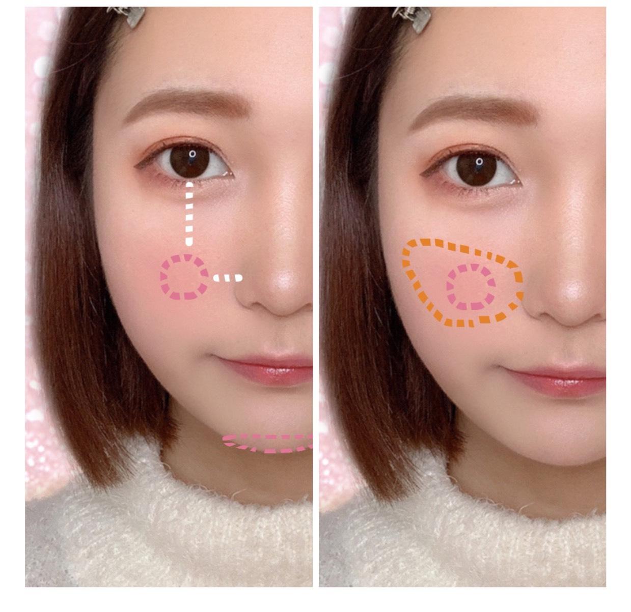 まず、黒目と小鼻の合わさる位置(?)にピンクを塗ります。 あと顎にも薄く塗ります。 そしたら、オレンジでぼかすように広く斜め上に向かって塗ります。