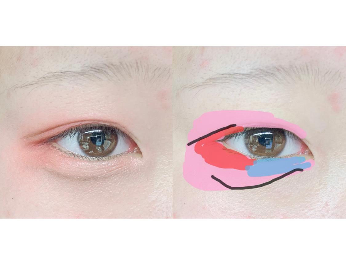 5.(オ)を使って涙袋の影、そして二重の線を延長します。涙袋の影はぼかします。