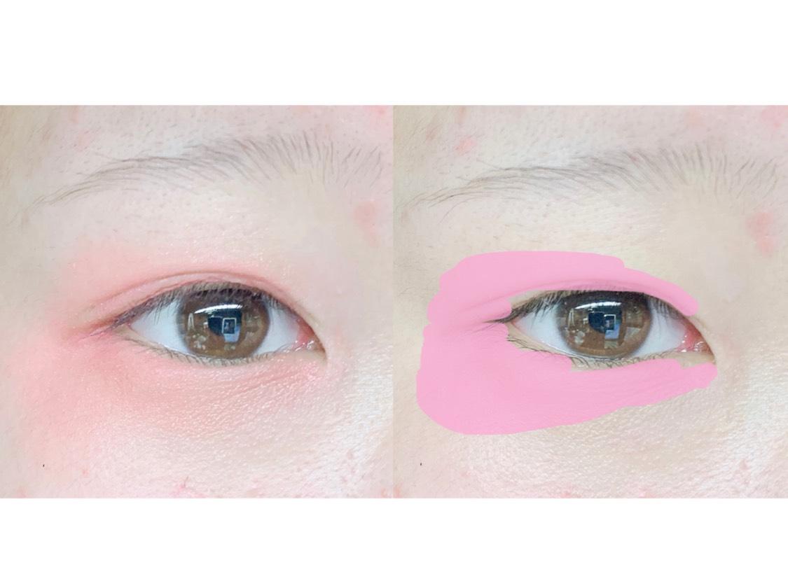 2.(ア)と(イ)を使って瞼全体に色を塗ります