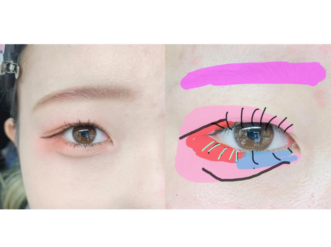 10.眉毛を(ケ)をつかってピンクにしちゃいます