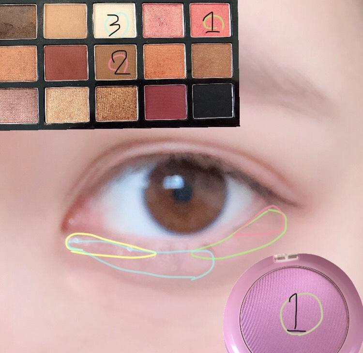 下瞼 1は紫を強めに三角ゾーンより広めに 2を三角ゾーンに 3を涙袋に 目頭に少しピンクのラメ
