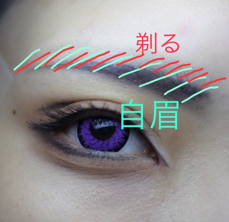 眉です。アイメイクどんなに綺麗にできても眉失敗すると一瞬で完成度落ちる(と思ってる)ので眉はいつも緊張します。 とりあえず私のやり方ですが、自眉が緑の斜線の範囲です。赤斜線の上部分を剃って、下の部分のみ使っています。