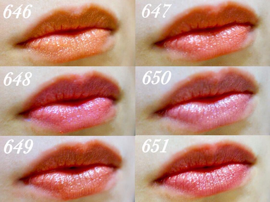 パールたっぷりで塗るだけで唇がふっくら仕上がります。  ギラギラしすぎず使いやすいカラバリですが、私のイチオシは649のブラウン系!  顔が引き締まって大人っぽい印象になれます❤️