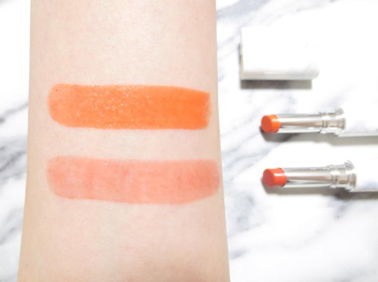 カラーは2色展開 ▶︎サンレイユ(オレンジ系):高発色の鮮やかオレンジ   ▶︎フィアーストック(レッド系):透けるように発色するレッド  ここまで発色のよいパッと鮮やかなオレンジも、普段使いしやすい透け感のあるレッドも、ありそうで無かったカラーなのが嬉しいです。リップラインが取りやすく、唇の薄い人でも塗りやすい
