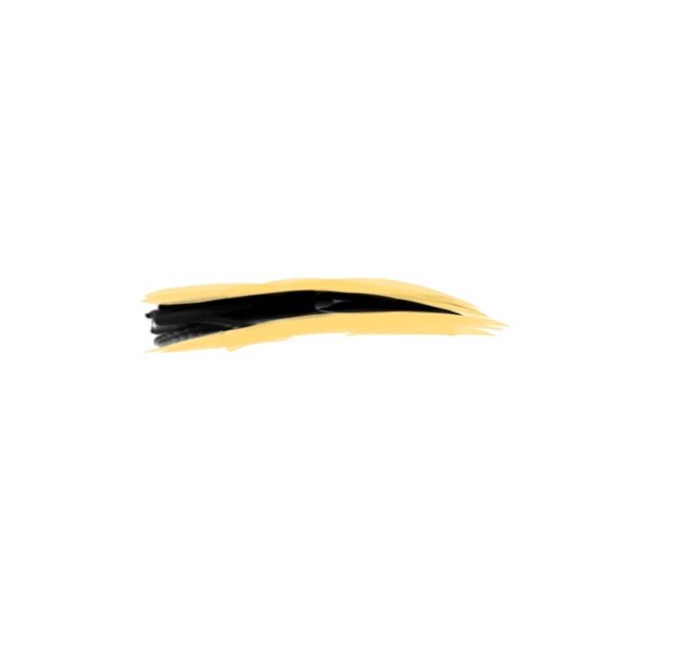 筆でコンシーラー少しとって手の甲とかで調整したら、(黄色いところコンシーラーね)さっきはみ出たところとか綺麗にしていく。ほぼ絵。修正液と捉えてもらって構わん