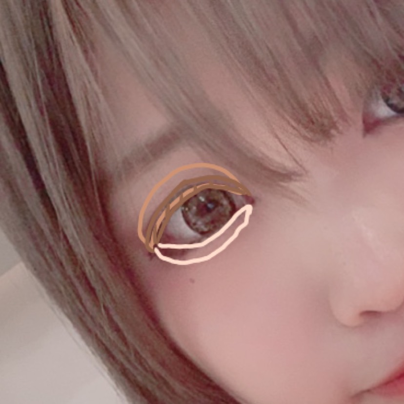 ⑶アイシャドウの薄めのブラウンを目の際からまぶた全体にグラデーションになるように塗る。 濃いめの色を二重のラインから上にグラデーションになるように塗る。 1番薄い色を涙袋にのせる(涙袋の真ん中が1番明るくなるようにハイライトを使ってます