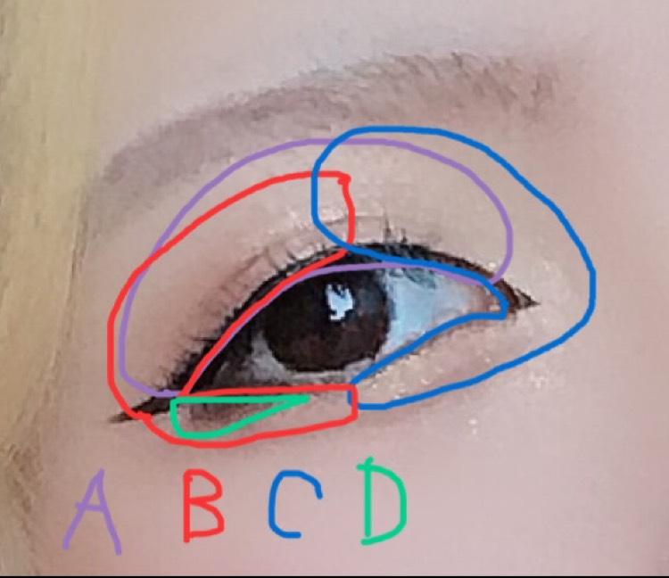 アイメイクは A 白かベージュ B お好みの色(私はオレンジブラウンかボルドー) C ラメシャドウ(私はイエロー入れてる D 締め色こ濃いブラウン  Cの時にBの境目をボヤかす
