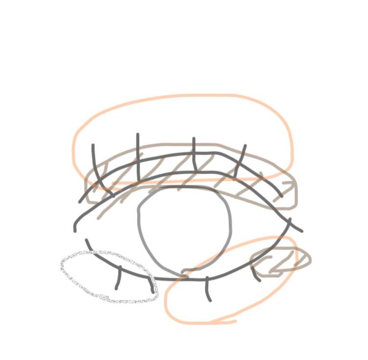 オレンジシャドウをアイホールと下瞼2/3 薄めのブラウンシャドウを二重幅と目尻 ラメシャドウを目頭1/3