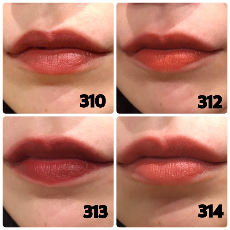 310:ノージャッジメント 旬のとろみカラー、ディープブラウン。スウォッチだも暗く見えますが実際に唇につけると肌に馴染むし暗くならないです💡これが1番使いやすいブラウンリップだと思います。 . 312:ノーレイジ 洗練されたテラコッタブラウン。かなりオレンジ系の色味が強く出て鮮やかな発色でした。可愛い色ですが、私は唇が浮いてしまって似合わなかった😂 . 313:ノークライ 上品でシックなレトロブラウン。 かなり深い色なので好みがはっきり分かれそうですが、ポンポン塗りなら使いやすいと思います!私が実際つけて感じたのは、肌が白く見えるのと黒髪に凄い映えるカラーでした。 . 314:ノーバン 肌馴染みカラー、ピーチブラウン。これは普段使いしやすくてお仕事の時でも使える万能色でした💡ちょうど黄色のニット着ていて、洋服の色味とかとも合っていて1番お気に入りになりました💓