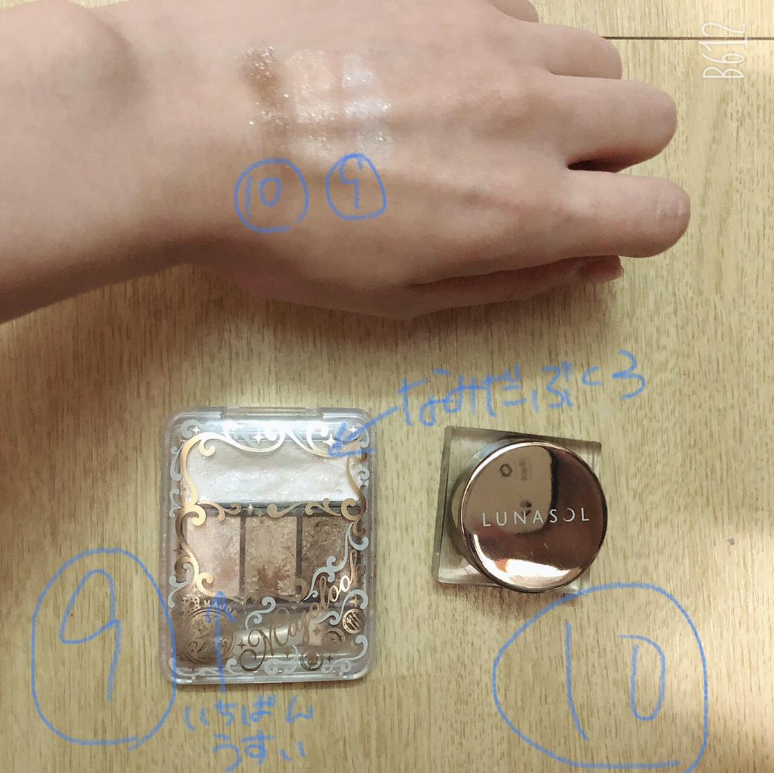 9.ルナソルの焦げ茶色を全体に薄くのせ、10.マジョ(エクセルのスキニーリッチシャドウ01と、涙袋にヴィセのシングルカラーを使用する時もあります)二重の上にのせます。9.ルナソルを今度は二重に濃くのせます。10.マジョの白を涙袋にのせます。