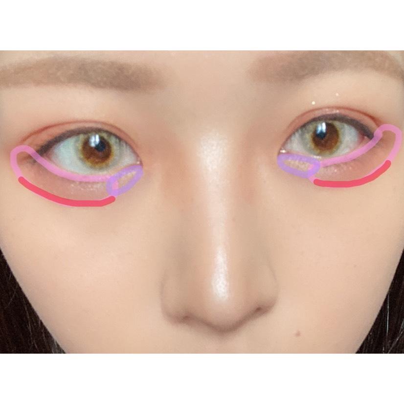 *下まぶた   紫→ハイライト   ピンク→マキアージュ   赤→チーク
