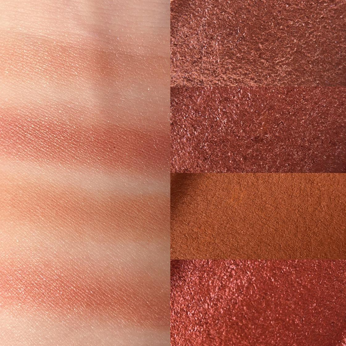 iroasobi(イロアソビ)4色パレット  使いやすいブラウン系のパレット✨  全体的な赤みのあるブラウンカラーで ふんわり高発色でサテンの光沢❤️  粉質もしっとりしていてピタッと 肌に密着してくれます   華やかだけど甘すぎないパレットでした✨✨